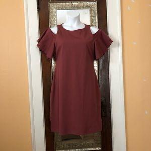 Cold shoulder flutter sleeve dress